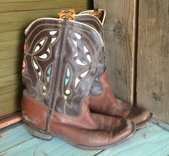Vintage Cowboy Boots, Brown Leather, Multi Colored