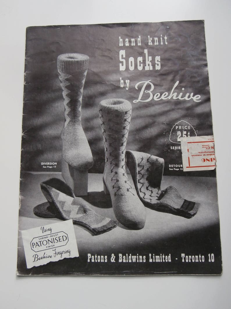 Vintage Hand Knit Socks By Beehive Knitting Pattern Book Etsy
