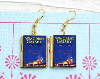 The Great Gatsby Book Earrings. Vintage Book Charm. F Scott Fitzgerald 1920s Book Jewellery. Literary Gift. Book Lover. Miniature Books