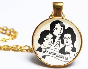Bronte Sisters Necklace. Jane Eyre. Wuthering Heights. Illustrated Charlotte Bronte Portrait. Literary Gift Vintage Book Lover Gifts For Her