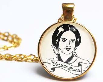 Charlotte Bronte Necklace. Jane Eyre. Illustrated Bronte Sisters Portrait. Book Jewellery. Literary Gift. Vintage Book Lover. Gifts For Her