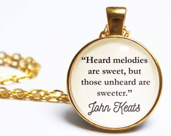 John Keats Quote Pendant. Poetry Quote Necklace. Head Melodies Are Sweet. Vintage Book Jewellery. Literary Gift. Book Lover. Poem Gift