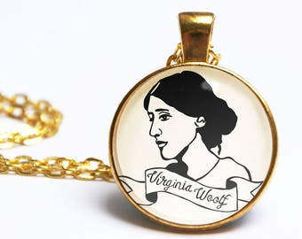 Virginia Woolf Necklace. To The Lighthouse. Illustrated Author Portrait. Mrs Dalloway. Literary Gift. Vintage Book Lover. Gifts For Her