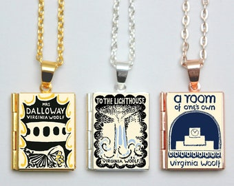 Virginia Woolf Book Locket Charms. Vintage Book Charm. Mrs Dalloway Necklace. To The Lighthouse Jewellery. Literary Gift. Locket Library