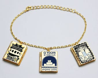 Virginia Woolf Book Charm Bracelet. Book Locket Charm. Book Bracelet. Book Jewellery. Literary Gift. To The Lighthouse. Mrs Dalloway
