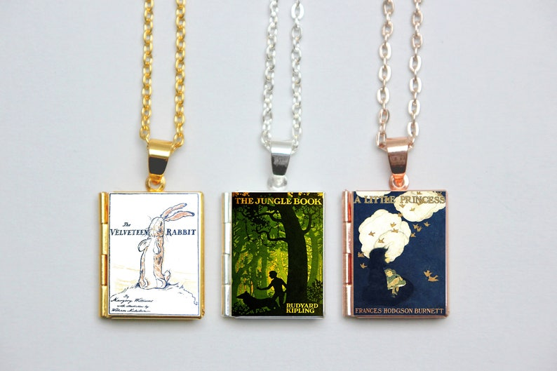 The Secret Garden Jewellery Anne of Green Gables Necklace Little Women Book Charm Vintage Book Locket Charms Literary Gift Book Cover