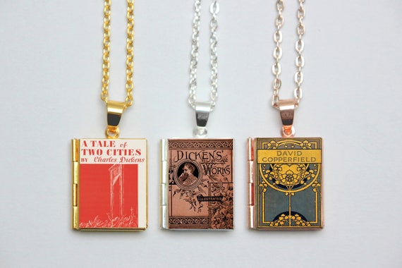 Charles Dickens Book Locket Charms Vintage Book Charm Tale Etsy