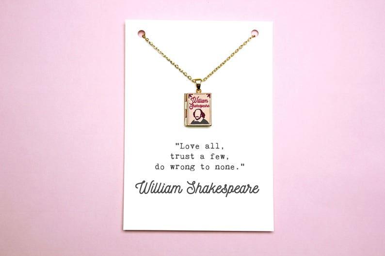 William Shakespeare Boek Citaat En Medaillon Charme Liefde Allemaal Verkeerd Doen Om Geen Citaat Kaart Boek Ketting Boek Juwelen Literaire Gift