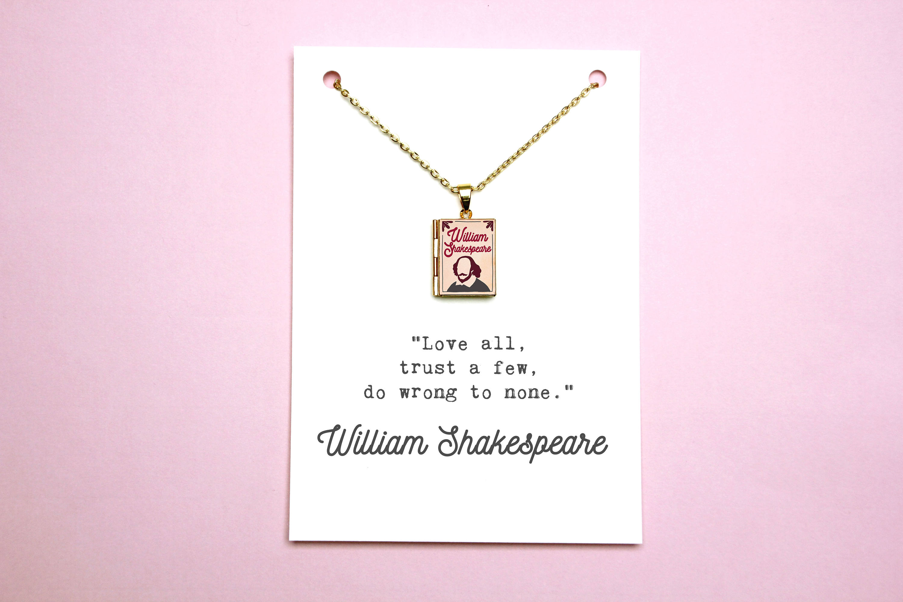 William Shakespeare Book Quote and Locket Charm. Love All Do