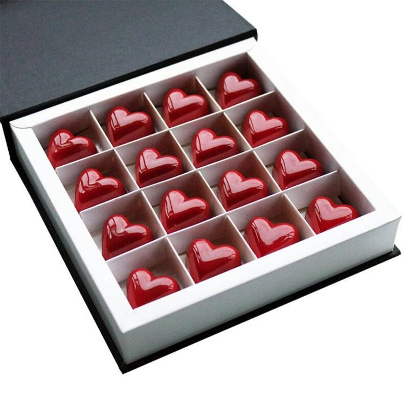 Caramel & Gianduja Red Heart Chocolates  Handmade chocolates image 0