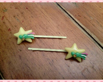 Bobby pins - set of 2 yellow shooting stars