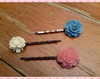 Bobby pins - set of 3 with resin flowers