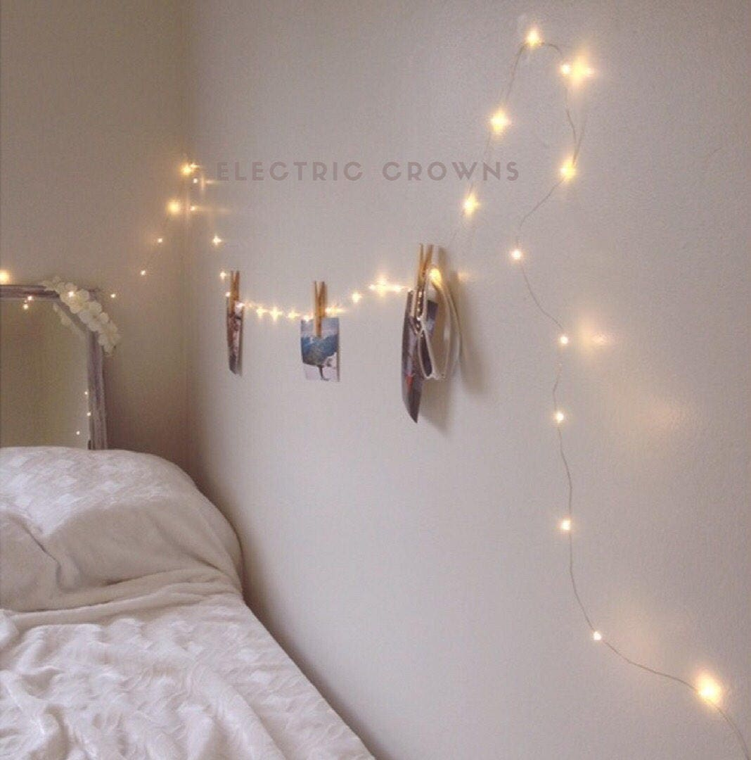 Bedroom Decorating Ideas With Fairy Lights Laura Ashley Bedroom Wallpaper Ideas Bedroom False Ceiling Design Canopy Bedroom Sets King Size: Bedroom Fairy Lights Bedroom Decor String Lights Dorm
