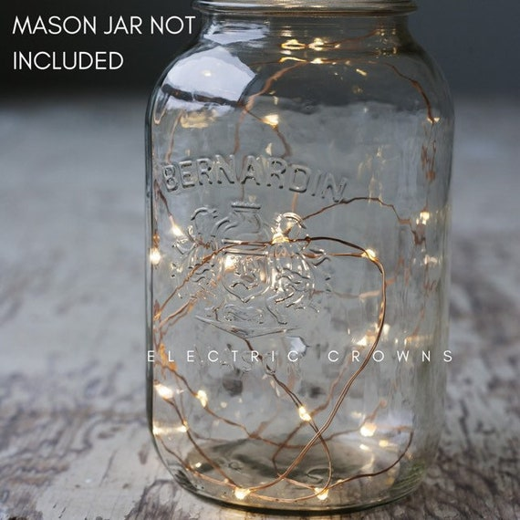 Wide Mouth Lid Mason Jar Light 7 Micro Fairy Lights Battery Operated w// Timer