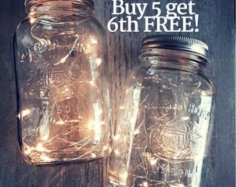 Mason jar lights, Centerpiece Lights, Country Wedding Decorations, Barn Wedding Decor, Bridal Shower, Fairy Lights, 3ft, 6ft, 9ft *No jar