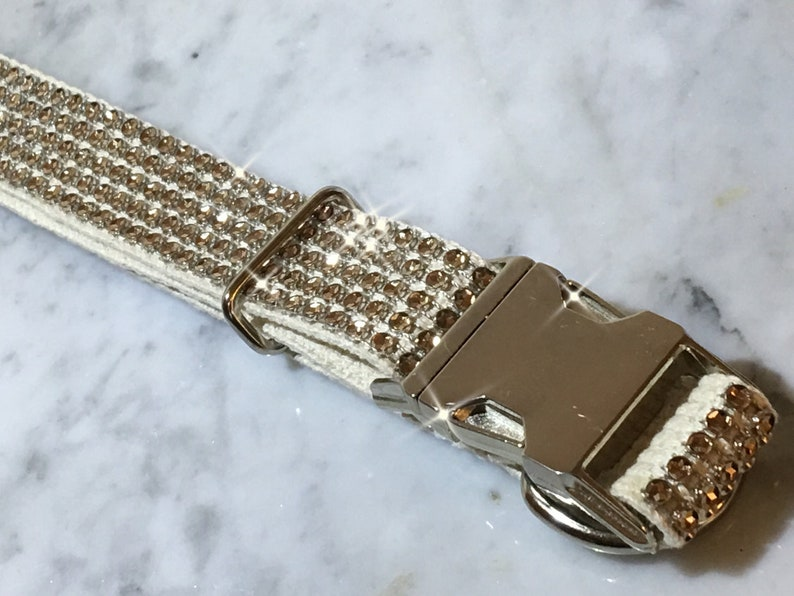 READY TO  SHIP Champagne Rhinestone Bling Dog Collar Fits 14-20 Natural Cotton Metal Buckle Sensitive Skin  Adjustable Fancy Glam