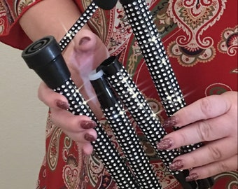 Silver Rhinestone Folding Walking Cane Bling Multiple Sclerosis Balance Issues Post Surgery Gift Mom Dad Grandpa Grandma Fancy Glam Sparkly