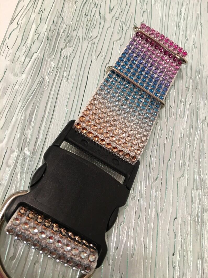 Rhinestone Rainbow BLING Dog Collar Big Breeds Crystal  2 WIDE Elegant Sparkly Gift Pet Plastic Buckle  Glam Fancy