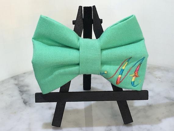 Bow Tie chien ajouter un monogramme lettre coton tissu personnaliser cadeau petit moyen grand fantaisie Dapper coloré Dress Up Preppy