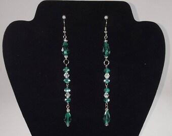 Emerald green glass dangling earrings