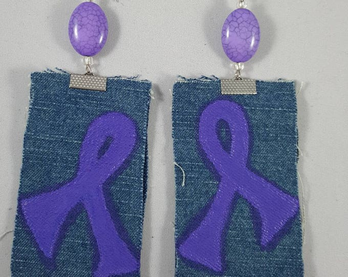 Purple Lupus and Domestic Violence Awareness hand painted on jeans fabric earrings with purple bead