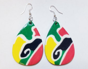 """Teardrop shaped hand painted """"in living"""