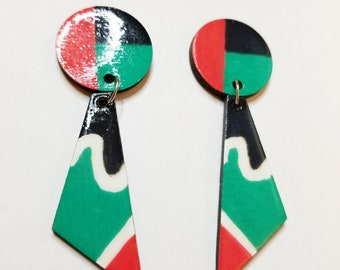 Triangle Red, White, Green, and Black hand painted earrings with stud backs