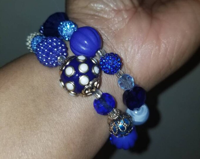 Shades of blue beaded wrap bracelet