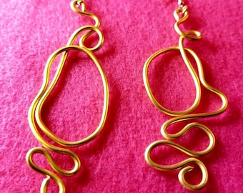Gold free form wire earrings