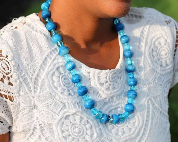 Blue ceramic and glass beaded necklace.