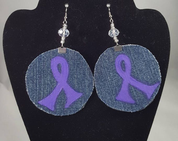Circle hand painted fabric earrings, Purple ribbon for Lupus and Domestic Violence Awareness hand painted on jeans fabric with leather back