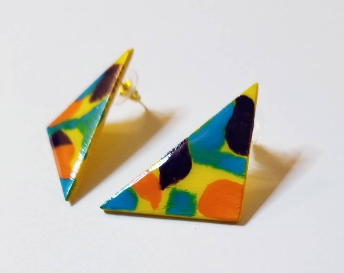 Triangle multicolor hand painted earrings
