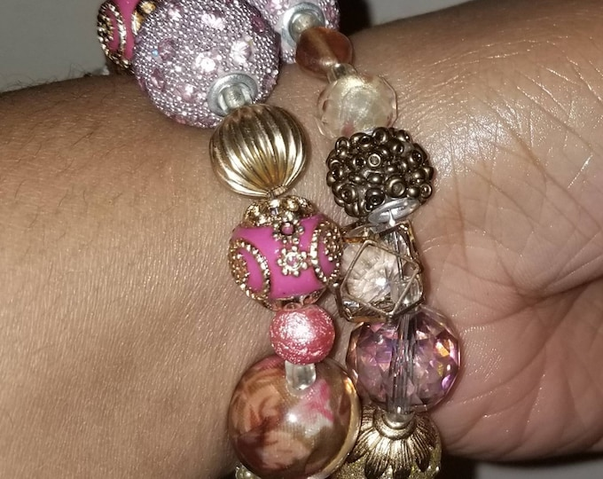 Pink and gold beaded wrap bracelet