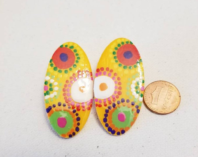 Yellow multicolored oval shaped handpainted dots wood earrings