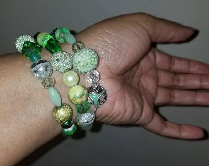 Shades of green wrap beaded bracelet