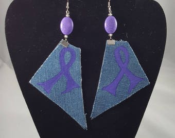 Purple ribbon Lupus and Domestic Violence Awareness earrings on jeans fabric backed by leather-like fabric for firmness