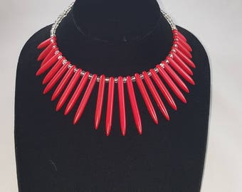 Red Howlite Beaded Necklace Set