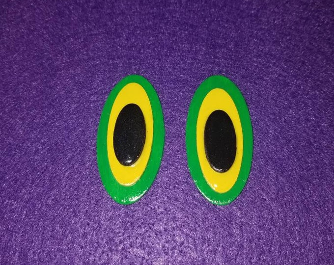 Oval yellow, green, and black color block hand painted earrings