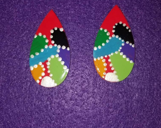 Teardrop shaped hand painted multicolored earrings