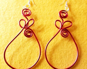 Red pear-shaped wire spiral earrings