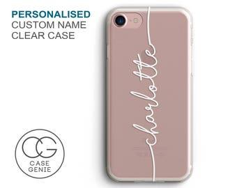 39e697f76a8 Personalised Handwritten Name Clear Phone Case for iPhone X Xs Xr Max 8  Plus 7 6 6s 5 5s SE S10 Cell Cover TPU Hybrid Tough Bumper Custom