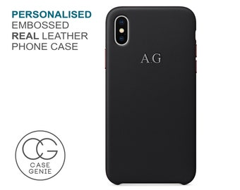 Personalised Black Leather Embossed Case for iPhone X Xs Xr Max 8 PLUS 7 Initial Monogram Custom Personlised Cover Gold Silver iphone 11