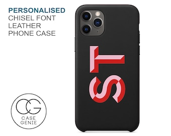Black Leather iPhone 13 and 12 Pro Max Case Chisel Font Personalised Initials Mini 11 X Xs Xr SE 2020 8 7 Plus Monogram Custom Personalized