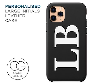 Black Leather iPhone 13 and 12 Pro Max Case Large Initials Personalised Mini 11 X Xs Xr 8 PLUS Monogram Initial Personalized Printed Cover