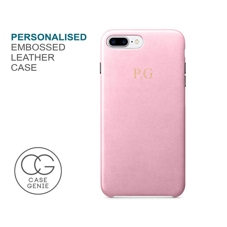huge discount 1bf26 7c556 Pink PU Leather Phone Case Embossed Personalised for iPhone X Xs Xr Max 8  PLUS 7 6 6S Initial Monogram Custom Personalized Cover Gold Silver
