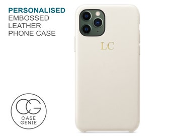 White PU Leather Phone Case Embossed Personalised for iPhone 11 Pro Max X Xs Xr 8 PLUS 7 6S 6 SE 2020 Initial Monogram Custom Personalized