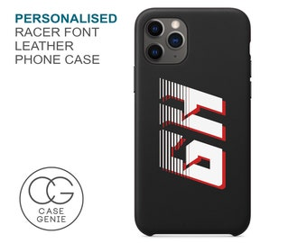 Black Leather iPhone 13 and 12 Pro Max Case Racer Font Personalised Initials Mini 11 X Xs Xr 2020 8 Plus Monogram Custom Personalized Names