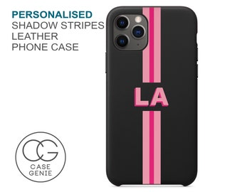 Black Leather iPhone 13 and 12 Pro Max Case Shadow Text Stripe Personalised Initials Mini 11 X Xs Xr 8 PLUS 7 Monogram Initial Personalized