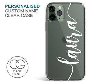 Personalised iPhone 13 Pro Max Handwritten Name Clear Phone Case for 12 11 Mini 8 Plus 7 6 SE S10 Cell Cover TPU Hybrid Tough Bumper Custom