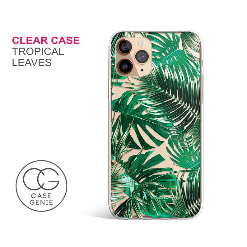 Tropical Leaves Clear Phone Case for iPhone 12 Pro Max 11 Mini image 0